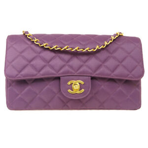 CHANEL Classic Single Flap Medium Chain Shoulder Bag 3591994 Purple Canvas 70758