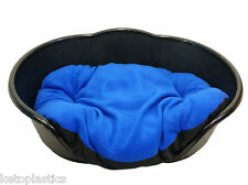 NEW !! LARGE PLASTIC BLACK DOG/CAT  BED WITH BLUE CUSHION  MADE IN UK