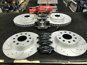 FOR SEAT VW AUDI SKODA FRONT REAR DRILLED GROOVED BRAKE DISCS PADS 288MM 272 MM