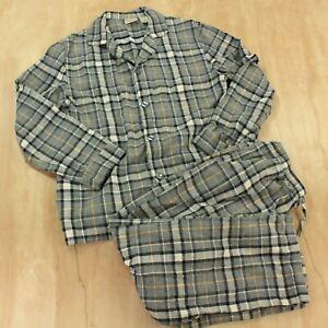 LL BEAN men's size MEDIUM flannel pajama set gray tartan plaid