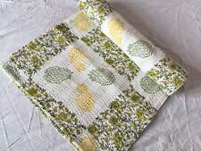 On Sale Kantha Quilt Handmade White Hand-Blocked Queen Bedspread Blanket Throw~