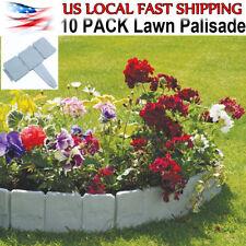 10 PCS Spring Yard Lawn Garden Plastic Faux Stone Patio Border Edging Fence US