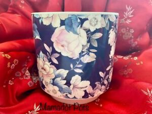 Floral, Round,Navy Blue,Ceramic Planter,Pot