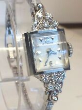 Vintage Lecoultre 14K White Gold & Diamond Ladies Watch GORGEOUS Cal K490/BW