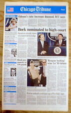 1987 hdlne newspaper PRESIDENT REAGAN nominates ROBERT BORK to US SUPREME COURT
