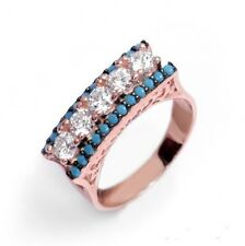 Sterling Silver 925 Rose Gold Plated With Nano Turquiose And Cz Stones Ring