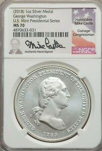 2018 1oz silver .999 George Washington Presidential Medal NGC MS70