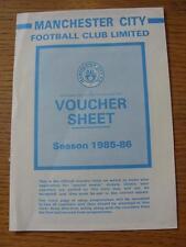1985/1986 Manchester City: Voucher Sheet, Unused