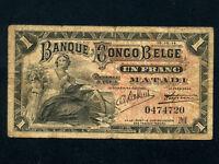 Belgian Congo:P-3B,1 Franc, 1914 * Matadi * F *