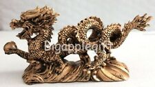 NEW GOLDEN Chinese Feng Shui Dragon Figurine Statue for Luck & Success #Large