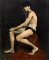 Hand painted canvas Oil painting male portrait model - nude young man seated 36""
