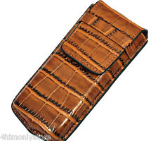 SINGLE BROWN CROC LEATHER ONE WATCH PEN SPECTACLES TRAVEL POUCH STORAGE CASE BOX