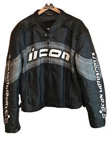 ICON Motorsports 2XL Daytona Jacket 100% Leather Mens XXL W Armour Padding