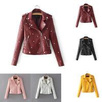 Women Leather Outwear Punk Stud Rivet Moto Jacket Zip Coats Chaqueta Blazer