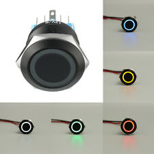 BLACK 6 Pin 22mm Led Light Metal Push Button Momentary Switch Waterproof 12V
