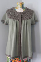 Brina & Em womens Sz L Large green brown open front cardigan sweater top blouse