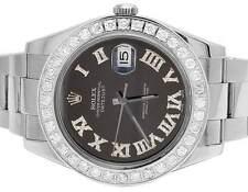 Mens 41 MM 116300 Rolex Datejust II S.Steel Black Roman Dial Diamond Watch 4.5Ct