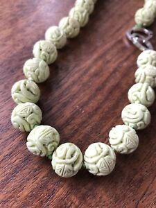 """Vintage 16"""" Hand Knotted Chinese Yellow Green Stone Bead Necklace"""