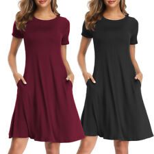Womens Summer T Shirt Short Sleeve Dresses Party Casual Beach Tunic Sundress