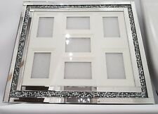 Diamond Crush 7 Picture Photo Frame 4x6  5x7 6x8 Inch Silver Mirrored Wall Hung