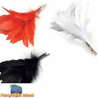 BURLESQUE WHITE FEATHER HAIR CLIP Womens Ladies Fancy Dress Costume Accessory