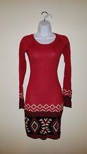 Energie Sweater Dress Tunic sheath Scarf 2 piece NWT S 2fer Red black Aztec $49