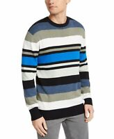 DKNY Mens Sweater Blue Size 2XL Crewneck Pullover Variegated Striped $79 #210
