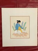"Harrison Begay Navajo  Woman w/Sheep silkscreen Santa Fe matted 10.5"" x 9.75"""