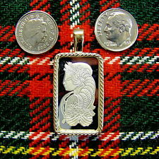9ct gold New lady luck bullion pendant with 10g fine silver bar ingot