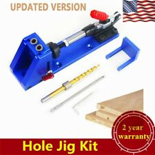 Woodworking Pocket Hole Jig Kit Drill Bit Guide Wood Joinery Base Bit w/Spanner