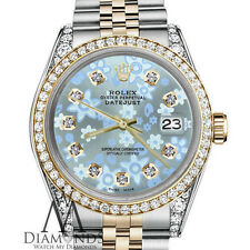 Woman's Rolex 36mm Datejust 2 Tone Glossy Ice Blue Flower Dial with Diamond