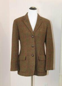 RALPH LAUREN Sz 14P 14 Petite Tweed Hunting Jacket Elbow Patch