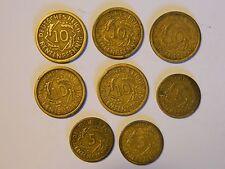 GERMAN RENTEN PFENNIG ALUMINUM BRONZE COINS 1924 8-COINS FREE FAST SHIP!!!