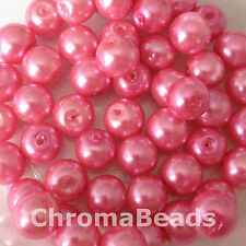 8mm Glass faux Pearls - Candy Pink (50 beads), pearl beads, jewellery making
