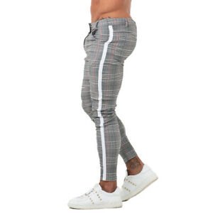 GINGTTO Mens Skinny Fit Chino Stretch Slim Gray Tartan Trousers Ankle Length