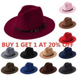 Belt Buckle Wide Brim Felt Fedora Hats Panama Jazz Hat Cowboy Hat Outback Hat