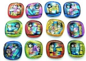 ONE HOLE 12 pcs DICHROIC FUSED GLASS for pendant (i4) CAB FOCAL BEADS KEY CHAIN