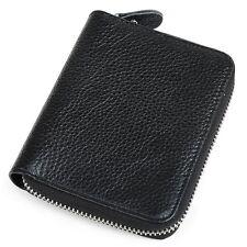 Genuine Leather Men women Wallet Money Clip Bag Card Purse Gift Zip-Around
