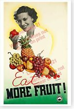 Eat More Fruit Victorian Railways Australia Retro Advertising Poster