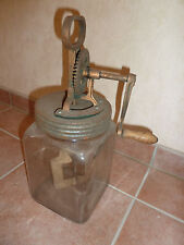Antike Butterschleuder Maschine Rührer Kurbel Glas Küchengerät Bauer Hof Deko