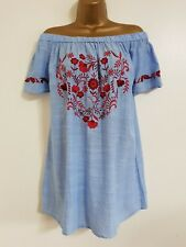 NEW Ex Evans Plus Size 16-30 Cotton Heart Floral Embroidered Blue Red Bardot Top