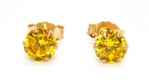 9kt Yellow Gold Yellow Sapphire 1.12ct Earring Free Gift box