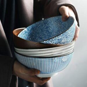 New 8 inch Japanese Ramen Bowl Ceramic Noodle Bowl Stripe Design Large Soup Bowl