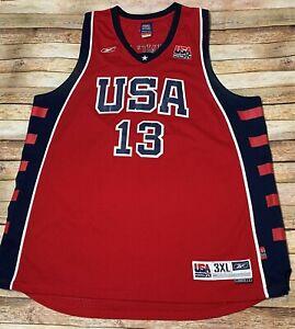 2004 TEAM USA Basketball Jersey TIM DUNCAN #13 Away Red Stitched Reebok NBA 3XL