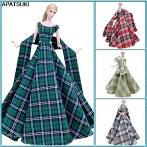 """Plaid High Fashion Wedding Dress for 11.5"""" 1/6 Doll Outfits Clothes Gown 1/6 Toy"""