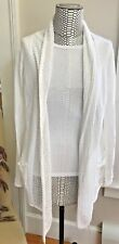 NWOT FAT FACE Womens Open Drape Front Cardigan in White - 100% Cotton  Size 6