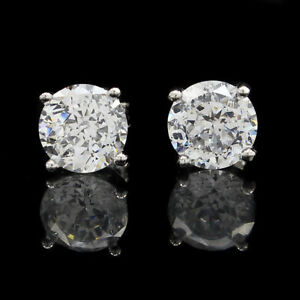 3 CT Simulated Diamond Stud Earrings 14k White Gold Over Sterling Silver