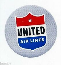 Vintage UNITED AIRLINES LUGGAGE PASSENGER STICKER DECAL LABEL RED WHITE BLUE USA