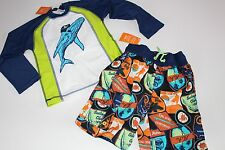 Gymboree Boys Boy Swim Suit Bottoms Trunks Rash Top NWT Size 4 Set Pirate Whale