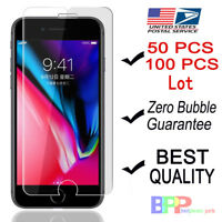 100x Wholesale Lot Tempered Glass Screen Protector for iPhone 11 XS MAX 8 7 Plus